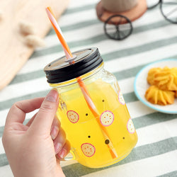 450ml Summer Mason Jar Mug with Straw and Lid Fruit Salad Juice Smoothie Beer Coffee Jar Creative Glass Cup