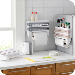 Kitchen Organizer Cling Film Sauce Bottle Storage Rack Tin Foil Paper Towel Holder Kitchen Shelf Plastic Wrap Cutting Tools