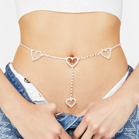 Stonefans Fashion Rhinestone Heart Waist Chain Belt Jewelry for Women Crystal Belly Body Chain Sexy Crystal Jewelry Party Gift