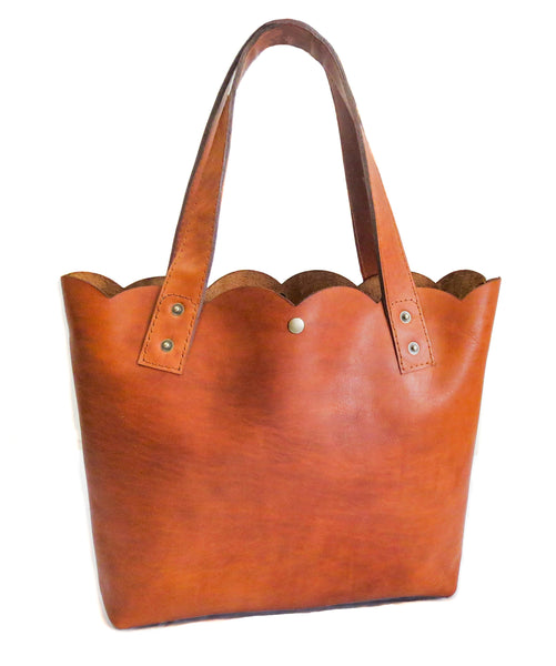 Scallop Leather Tote