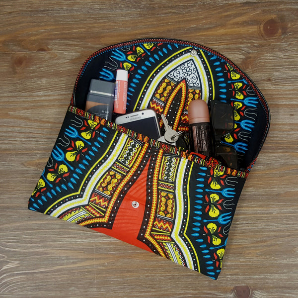African print clutch bag with bold pattern purse