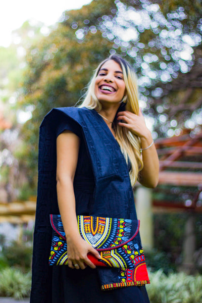 Black dashiki clutch
