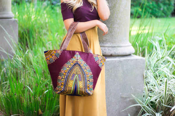 Dashiki tote with leather straps