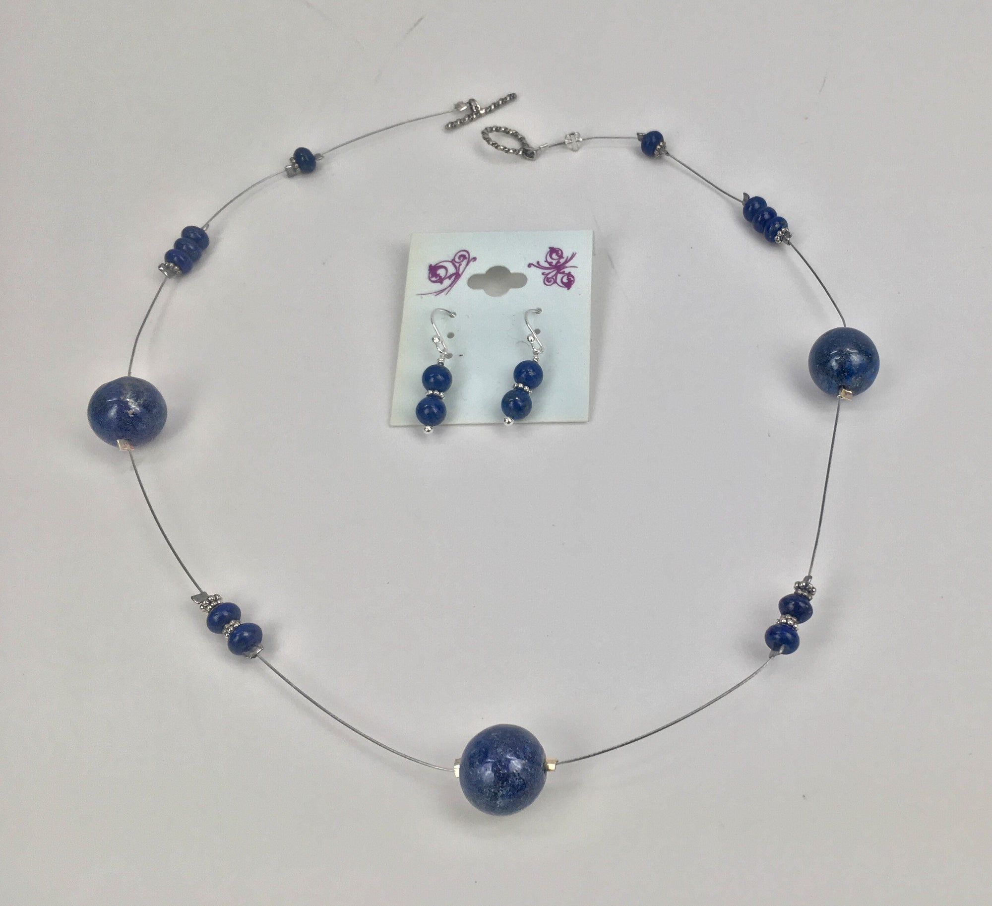 Unique Set Lapis on a Wire and Lapis Earrings