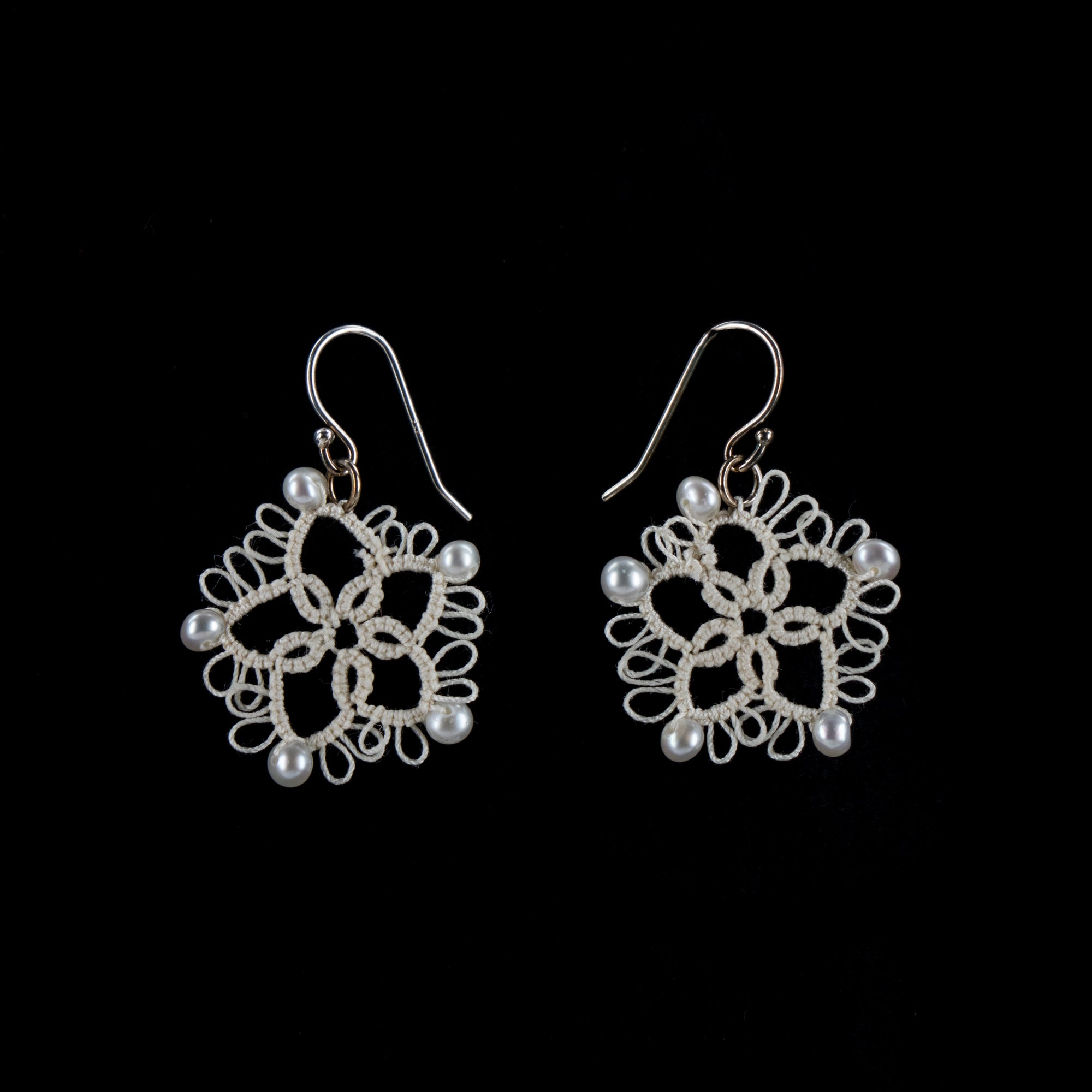 Tatted Star Earrings - Pearls