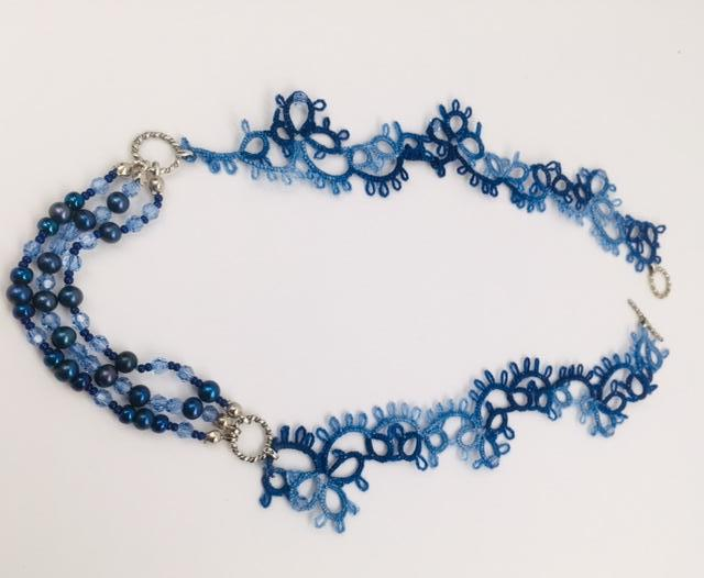 Tatted Clover Necklace - Blue