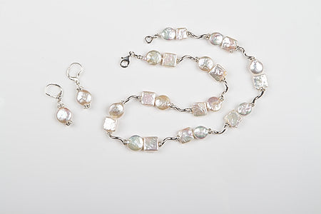 Unique Set Baroque Square and Coin Pearls