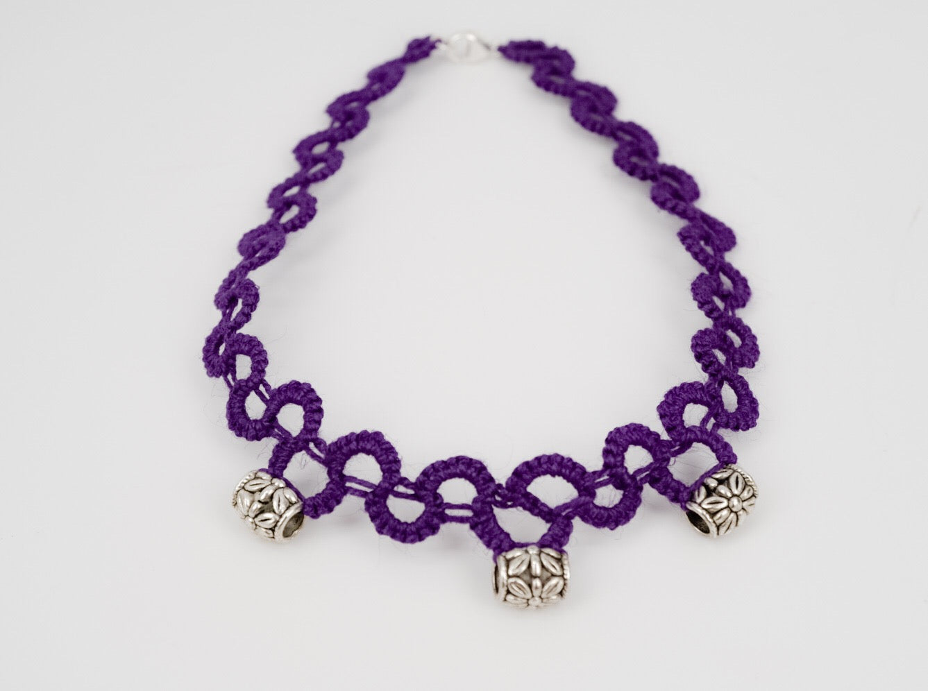 Tatted Hemp Choker - Purple