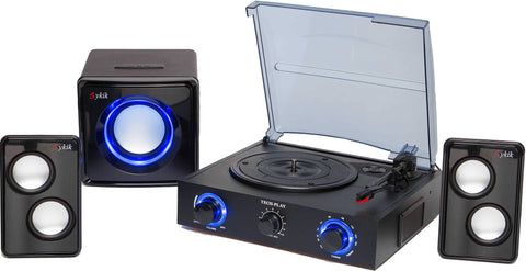 Contemporary 3-Speed Stereo Turntable With Pitch Control TCP2-KIT BK