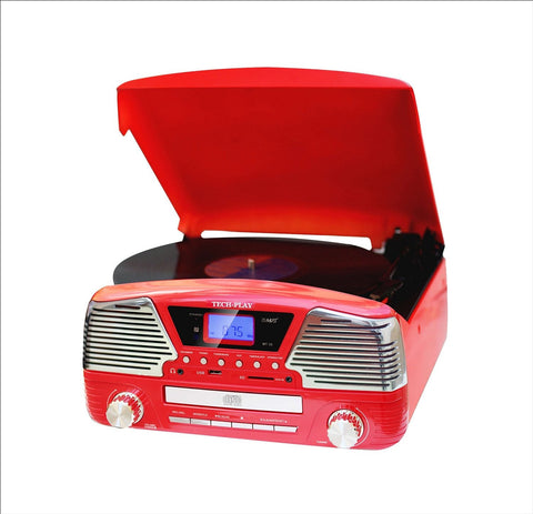 3 Speed turntable with Built-in stereo speakers programmable MP3 CD player ODC35  Red