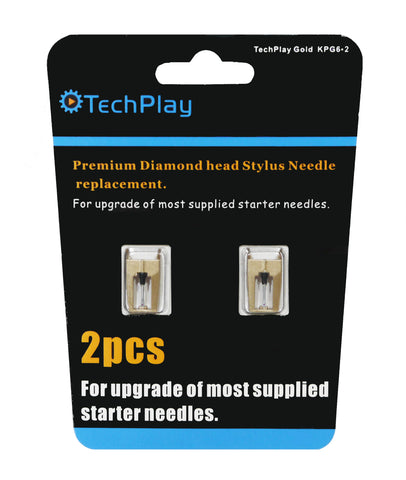 Gold Pack of 2 Dimond Tipped Needle for Turntable KPG6*2