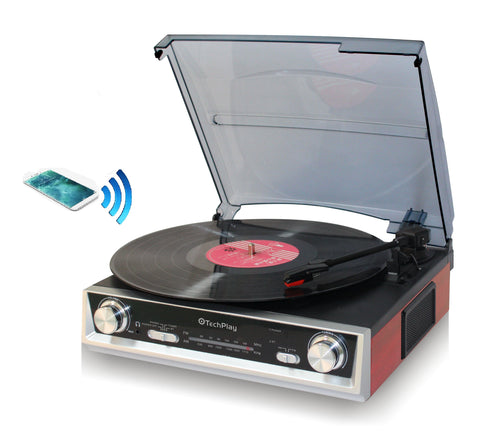 TechPlay ODC107BT , Bluetooth Connection, 3-Speed Turntable FM radio