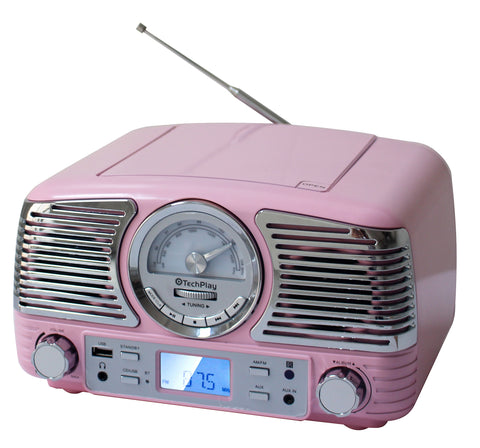 TechPlay QT62BT Pink, Retro design compact stereo CD, with AM/FM rotary knob, Wireless Bluetooth reception and USB port. With AUX in and headphone jack