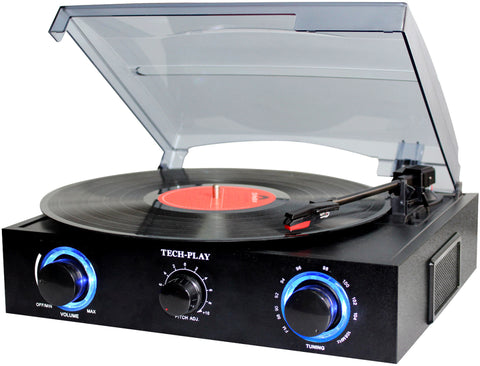 TechPlay TCP2 BK, 3 Speed (33, 45, 78 RPM)turntable with pitch control, FM Radio, RCA Out Jacks, Headphone Jack, and Built-in stereo speakers. LED lights