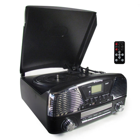3 Speed turntable with Alarm Clock and timer programmable MP3 CD player ODC35