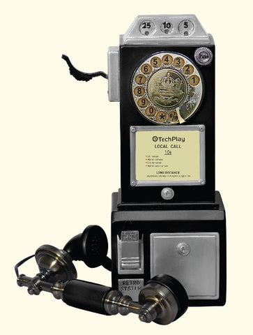 Retro Classic Rotary Dial Public Phone with Classic Handset Design CP26 Black