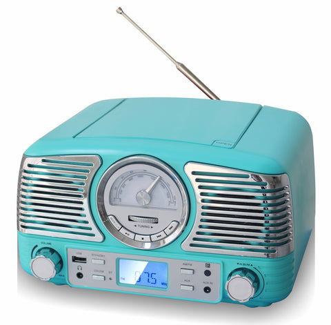 TechPlay QT62BT TR, Retro design compact stereo CD, with AM/FM rotary knob, Wireless Bluetooth reception, SD and USB ports. With AUX in and headphone jack