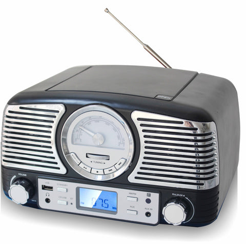 TechPlay QT62BT Black, Retro design compact stereo CD, with AM/FM rotary knob, Wireless Bluetooth reception, SD and USB ports. With AUX in and headphone jack