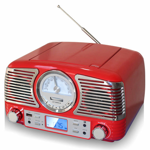 TechPlay QT62BT RED, Retro design compact stereo CD, with AM/FM rotary knob, Wireless Bluetooth reception, SD and USB ports. With AUX in and headphone jack