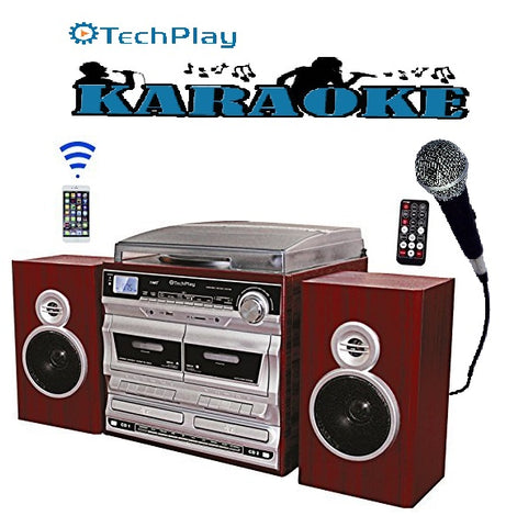 TechPlay ODCRK2110 BT,Karaoke,turntable,W/Dual CD Player/Recorder,Dual Cassette Player/Recorder & wireless Bluetooth connection.AM/FM alarm clock,SD,USB,AUX and headphone ports