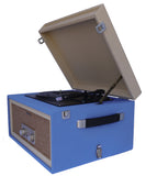 Blue 3 speed portable vinyl turntable with matching stand CTA99