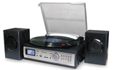 3-Speed Turntable & Cassett player with SD and USB Slots ODC194 Black