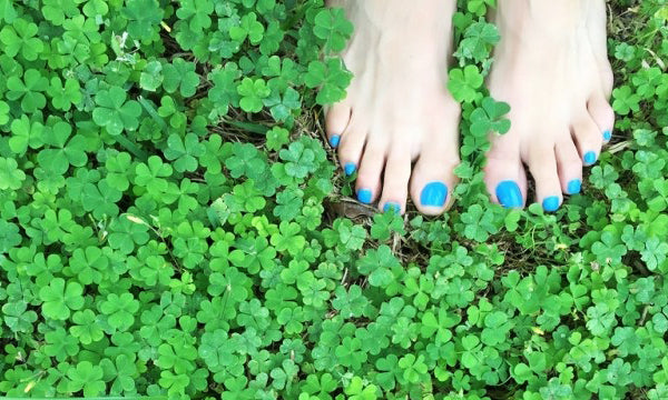 Soil fertility refers to a soil's ability to support life or allow plant life to grow and thrive. In this picture, a pair of bare feet nestle into a bed of leafy clovers.