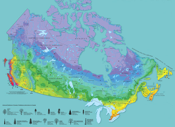Canada plant hardiness zones map