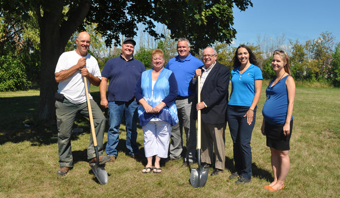 From left to right: Mike Audit, Mike Graybeil, Councillor Angie Desmarais, Scott Luey, Mayor John Maloney, Amanda Upper and Sarah Lacharity.