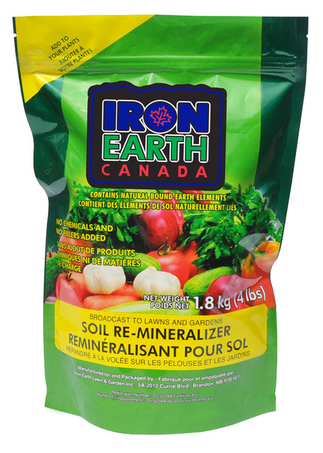 Iron Earth soil re-mineralizer acts like a natural fertilizer and soil conditioner. It rejuvenates mineral deficient soil with 76 organically bound earth elements.