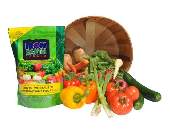 Iron Earth contains puts minerals back into your soil to help you grow healthy, mineral rich produce.