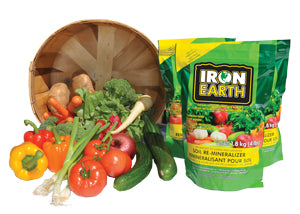Iron Earth gives soil the nutrients it needs to grow strong and healthy, mineral rich vegetables.