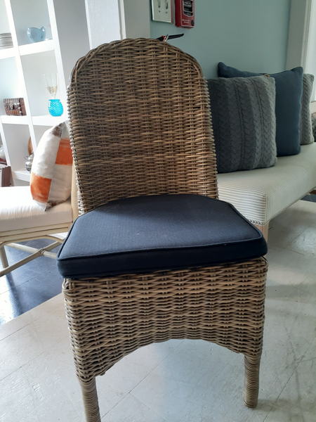 Wicker Chair with Black Cushion
