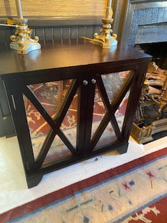 Bedside table with mirrored panels (darkwood)