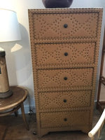 Burlap Nailhead 5 Drawer Dresser