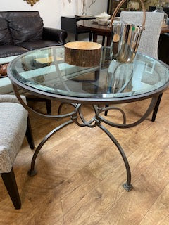 Sylvester round glass table with metal base