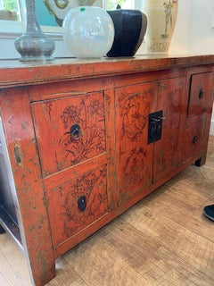 Red Chinese sideboard
