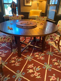 Large round wood dining table 60""
