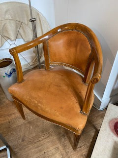 Leather and wood trim Side Chair