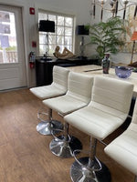 Set of 4 chrome and white bar stools