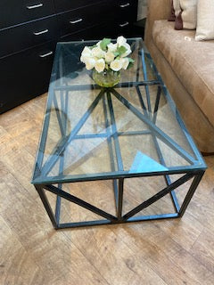 Black metal base table with glass top
