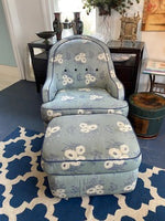 Blue print chair and ottoman
