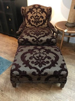 Aubergine Velvet Chair and Ottoman   02/13/2020 New