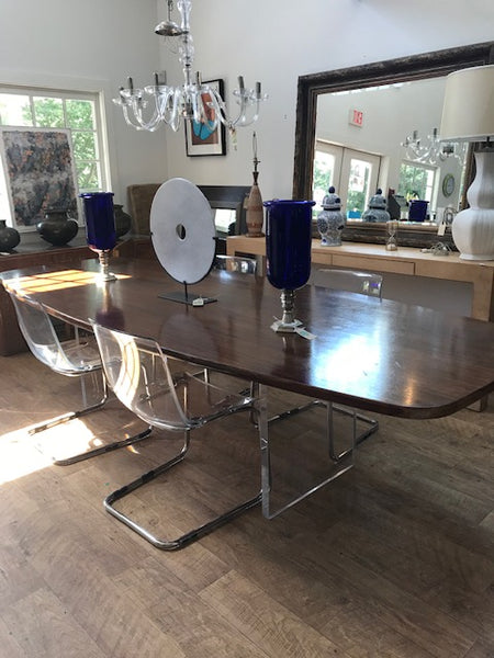 Walnut top table with lucite base