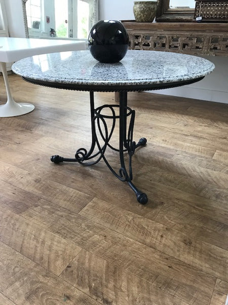 Cast iron base table with marble top