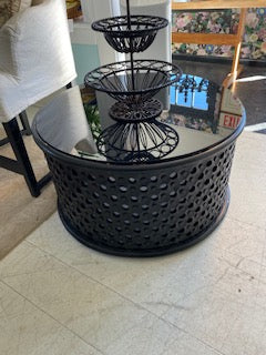 Black Round Glass Top Coffee Table