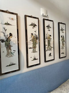 Set of 4 Japanese Lacquer wall hangings