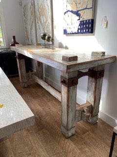 Wood Plank Arts & Crafts Industrial Table