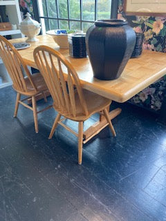 Wood Trestle dining table and 6 chairs