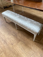 Bench with silver grey fabric